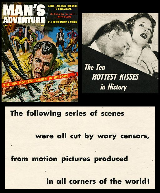 Ten hottest censored kisses in Man's Adventure magazine 1957