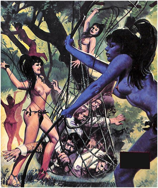 naked amazons with whips and men in a net