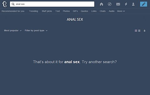 no search results for anal sex on Tumblr