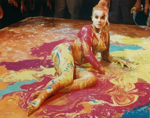 ann-margret gets wet and messy in paint