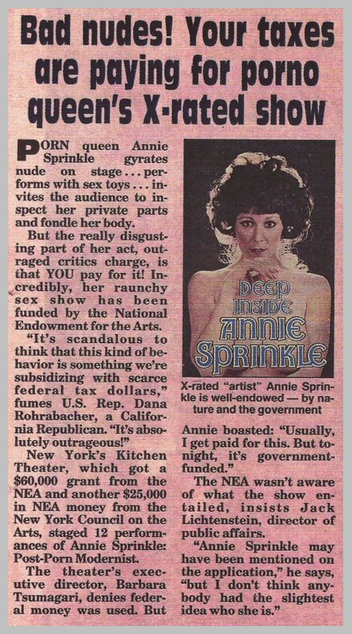 annie sprinkle got funded article in National Enquirer about NEA funding