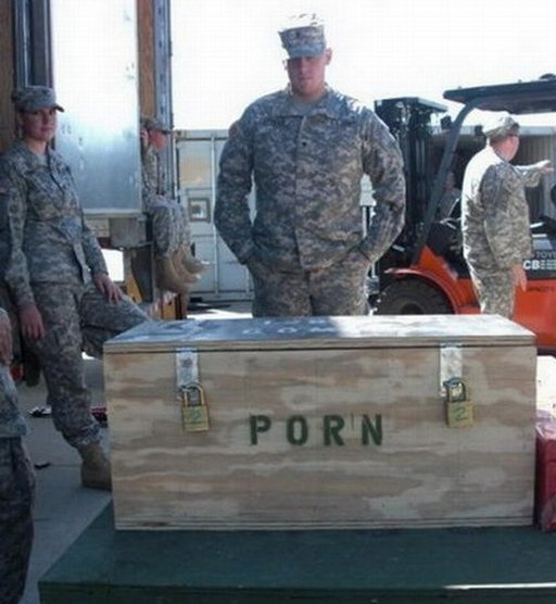 locked wooden crate full of army porn: Sir, the porn has been secured, sir!