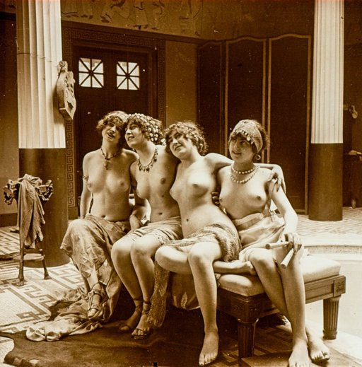 four topless bacchus worshippers in a fancy classical mansion