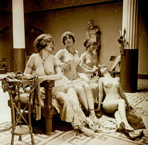 bacchante party girls sitting around with no clothes on