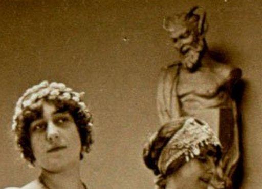 bacchus supervises four bacchantes