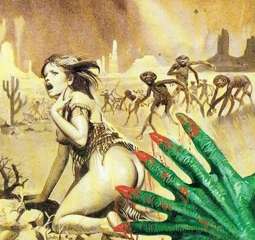 half-naked woman fleeing from alien mutants in a desert landscape