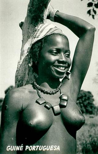 nude postcard from Portugese Guinea