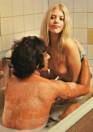 taking time for a bath with a blonde