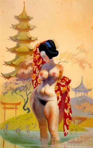 nude geisha bathing in pond
