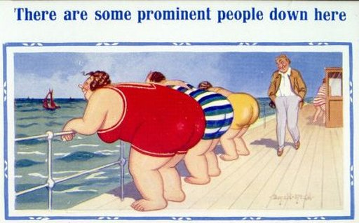 prominent people showing their prominent bums at the seaside