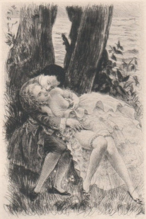 kissing a girl under a tree
