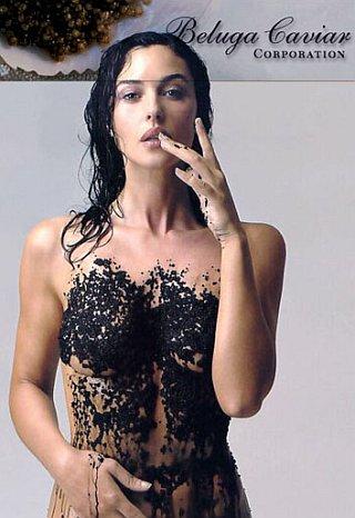 nude woman covered in caviar