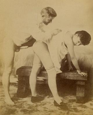 vintage man bending a woman over for a boning