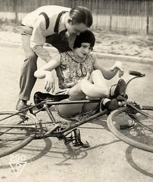 vintage postcard of a bicycle accident