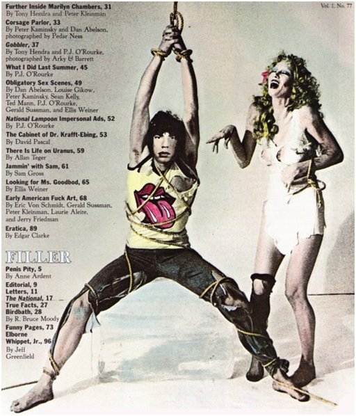Mick Jagger tied up by Anita Russell in spoof of infamous Black and Blue bondage album billboard