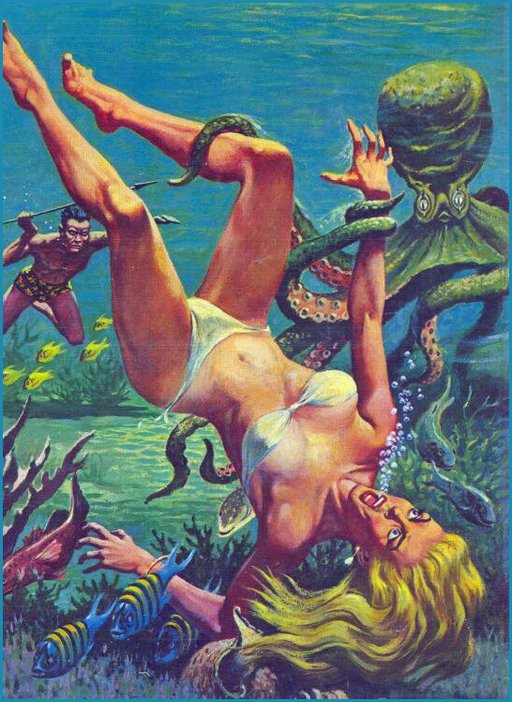 bubbling blonde wench held underwater by evil octopus