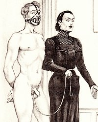 dominatrix leads muzzled submissive man by a leash clipped to his balls and testicles