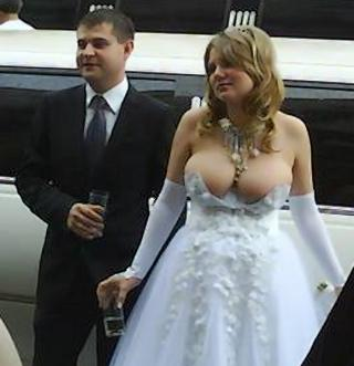 bride with big boobs and not much dress