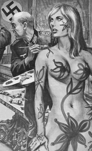 nazi villian painting a girl with hippy body paint and big flowers