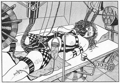 bondage pussy surgery in an erotic mad science style from Japanese fetish magazine Kitan Club