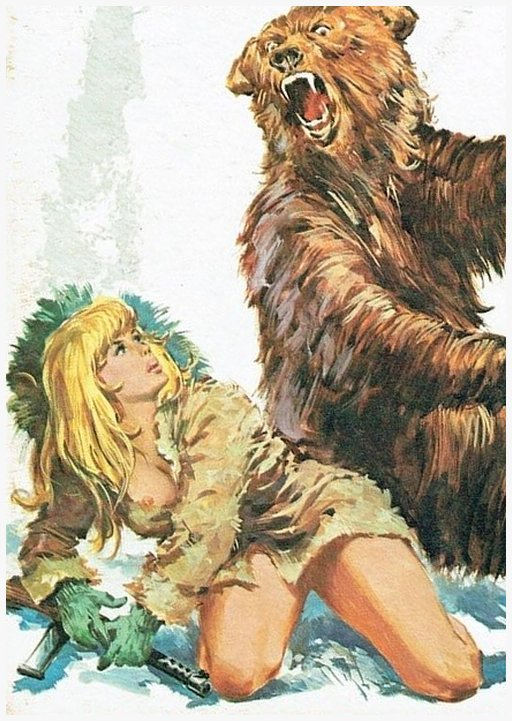 bonnie is about to shoot a bear with a dumb little machine pistol in Alaska italian pulp fumetti comic