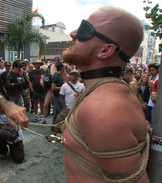 gay man in public bondage