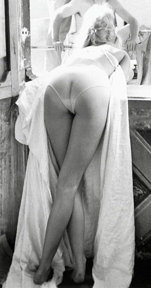 closeup view of brigitte bardot bending over a railing from behind