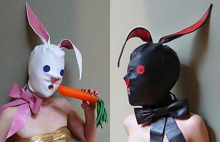 leather bunny hoods