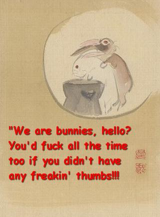 We are bunnies, hello? You\'d fuck all the time too if you didn\'t have any freaking thumbs!