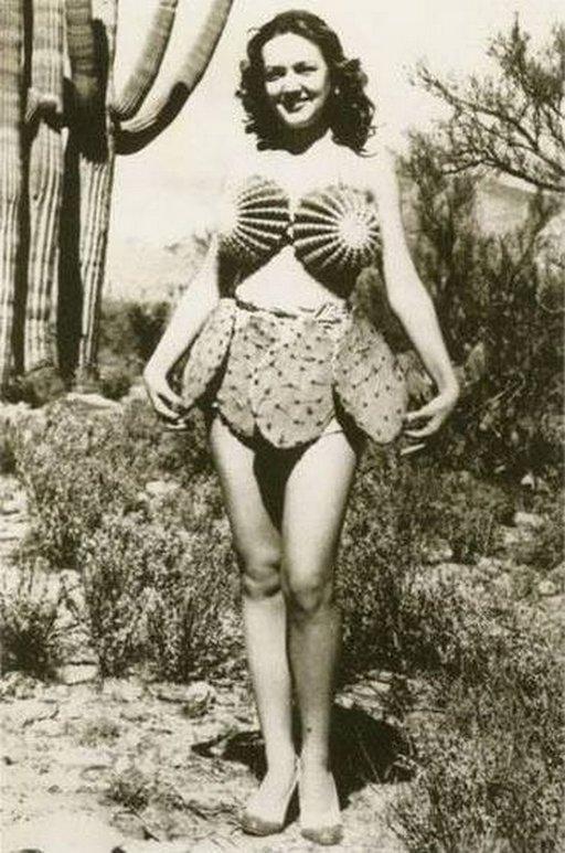 woman wearing a cactus bikini