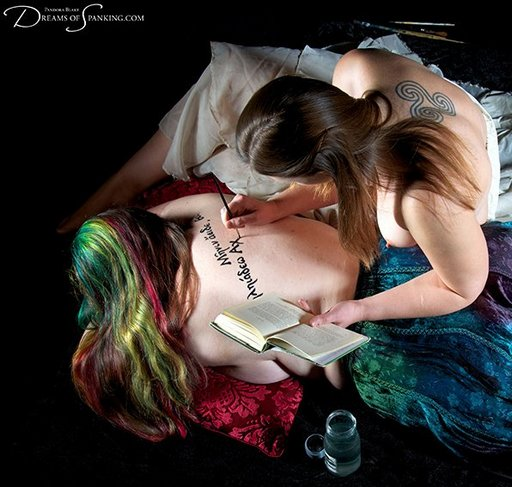 writing lines in greek on her flesh with real ink -- pandora blake and adele haze