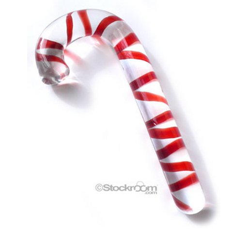 candy cane Pyrex glass insertible sex toy dildo stocking stuffer