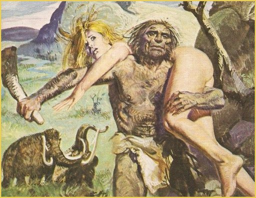 naked blonde getting carried away by a cave man fumetti cover