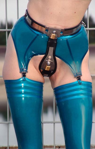 chastity belt and rubber stockings
