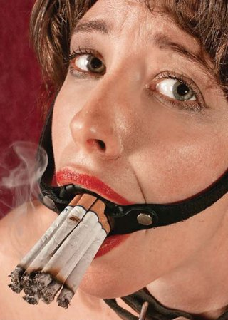 Bondage smoking cigarettes