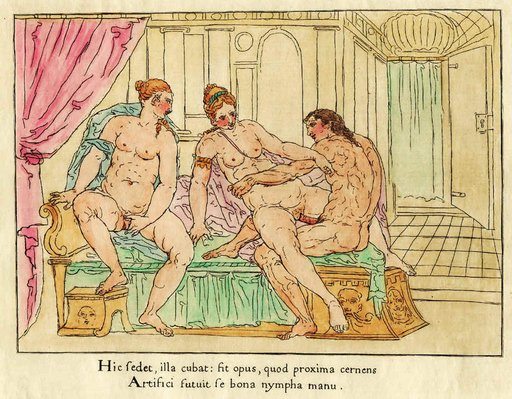 three-way sex engraving with latin inscription
