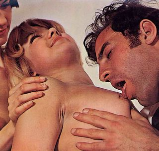 two guys, one girl, one well-licked nipple