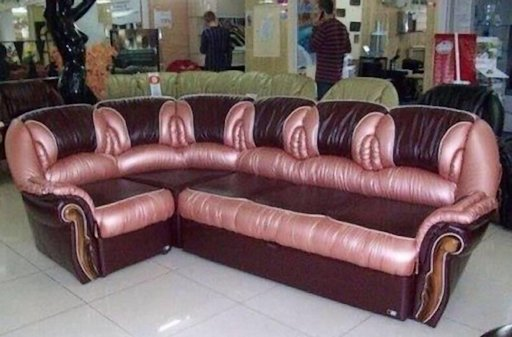 couch upholstered with gleaming cunts