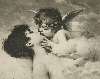 cupid kissing a nude woman