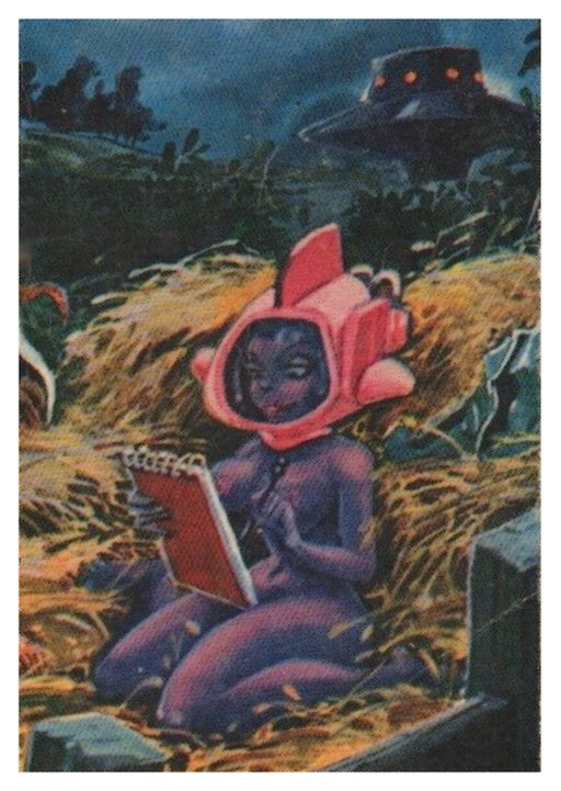 blue alien woman kneeling in a skintight suit with a steno pad and a fancy winged helmet