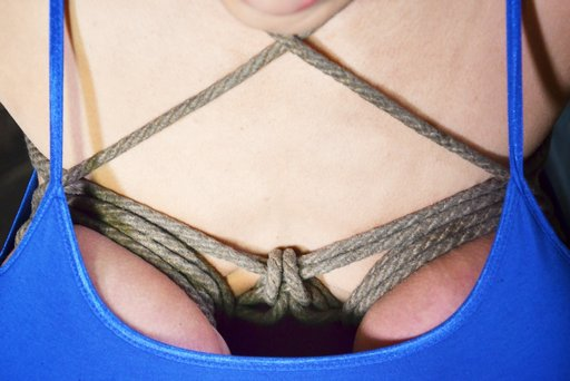 a rope bra for darling gives her good cleavage