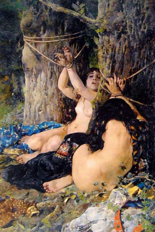 19th century impressionist art of two women tied to trees