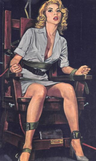 woman in short skirt tied to an interrogation chair