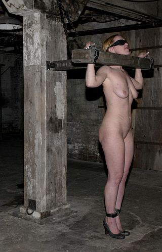 pretty girl in heavy wooden bondage