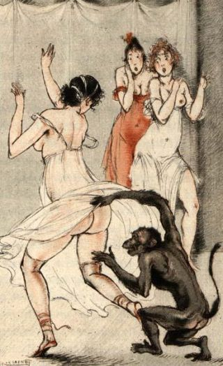 monkey chasing a girl and lifting up her nightie