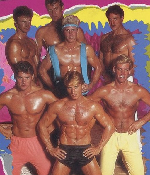 dirobics vhs tape cover of hunky men