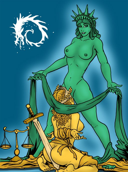 Statue of Liberty makes Lady Justice her bitch: bound, still blindfolded, scales cast aside, providing sexual services