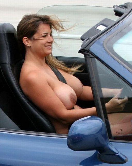 belted in nude driver with the top down