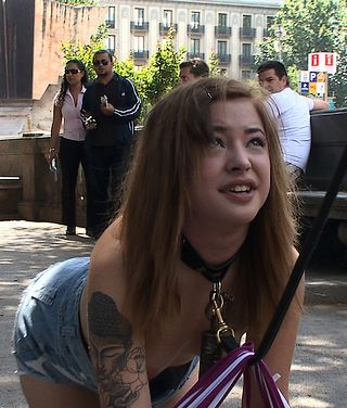 Dulce Mariposa stripped of her shirt and leashed in public