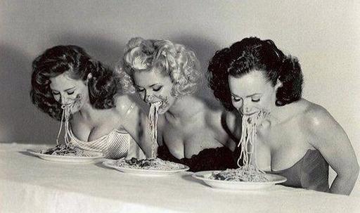 spaghetti eating contest vintage